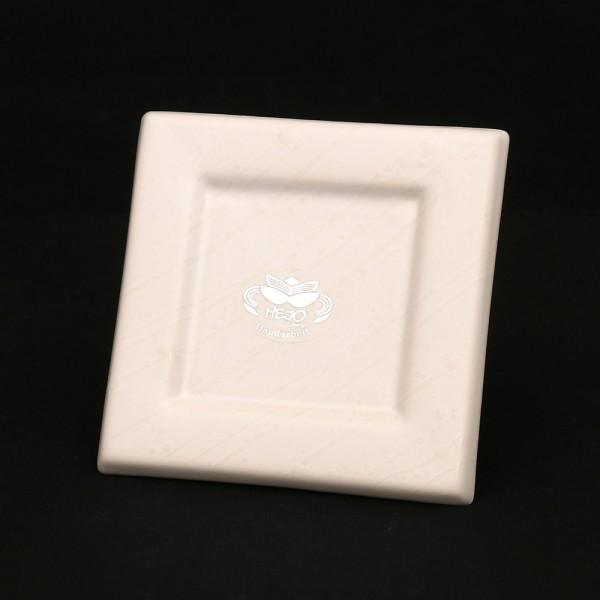 Keramik Kerzenplatte, Weiß 12,5 x 12,5 x 1,5 cm