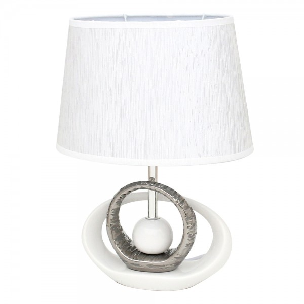 Keramik Tischlampe Elegance oval, weiß/silber 21 x 7,5 x 36 cm 230 V Kabel, E27