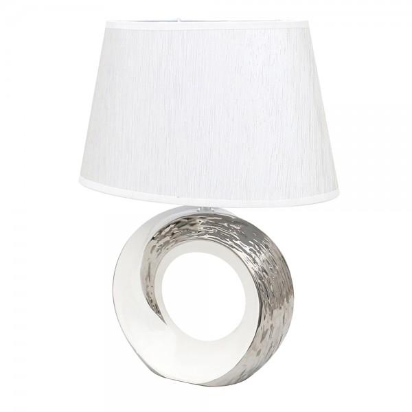 Keramik Tischlampe Elegance rund mit Loch, weiß/silber 31 x 20 x 41 cm 230 V Kabel, E27