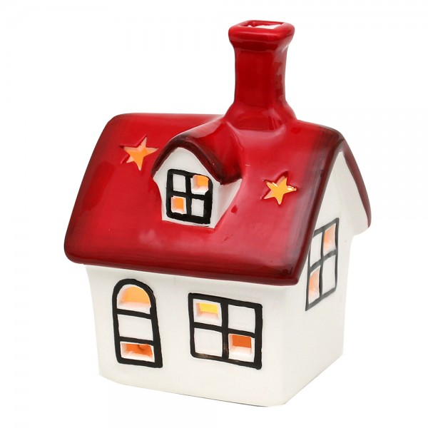 Dolomite Windlichthaus weiß/rot glasiert 10 x 9,3 x 14,2 cm