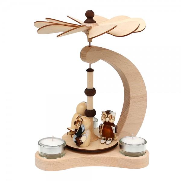 Holz Tischpyramide Eulenwald für 3 Teelichte (Buchenholz) 14 x 18 x 24 cm