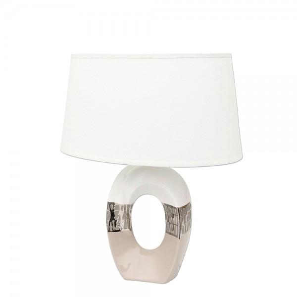 Keramik Lampe Cappuccino oval mit Loch silber/weiß 33 x 20 x 41 cm 230 V Kabel, E27