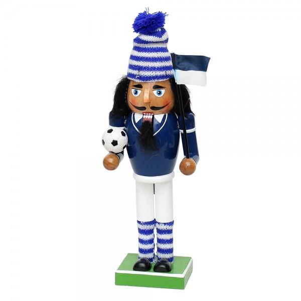 Holz Nussknacker Fußballfan, blau/weiß 10 x 6 x 26 cm