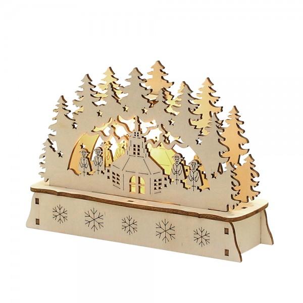Holz Mini-Schwibbogen Seiffen (Laserholz) 15 x 5 x 10,7 cm Batteriebetrieb AA, LED
