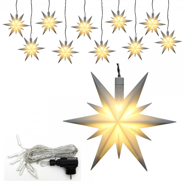 10er Set Plastik Weihnachtsstern Farbe weiß 13,5 x 5,5 x 12 cm Ø 13 cm inkl. Adapter 4,5 V, LED, wetterfest/für außen geeignet
