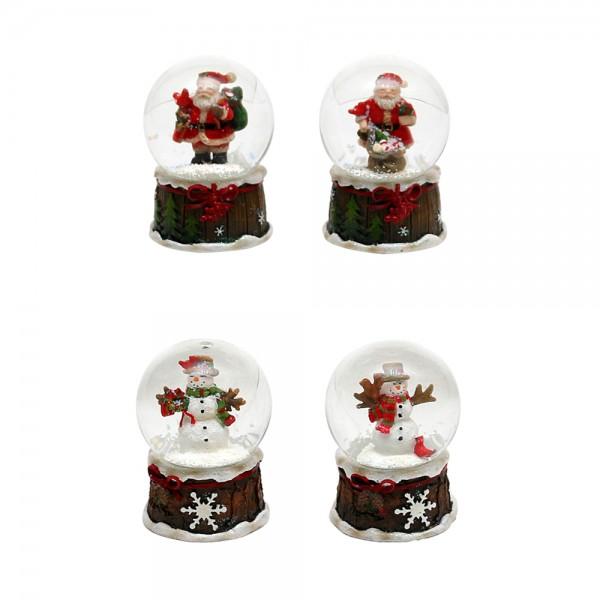 Polyresin Schneekugel Schnee-/Weihnachtsmann 4-fach sort. 4,5 x 4,5 x 6,5 cm Ø 4,5 cm im Set