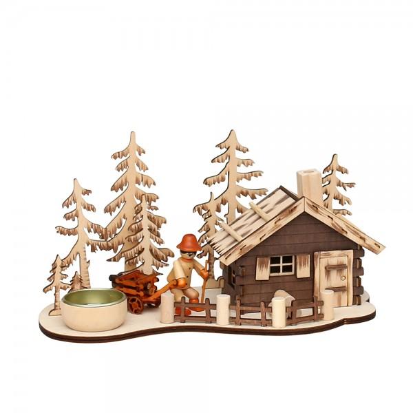 Holz Räucher-Berghütte mit Teelichthalter & Waldarbeiterfigur (Laserholz) 12,5 x 25 x 13 cm