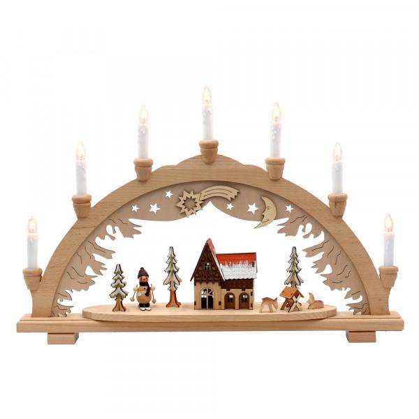 Holz Schwibbogen Schneemänner & Futterkrippe (Premiumholz) 57 x 9 x 38 cm 230 V Kabel, 7 flammig, SPK