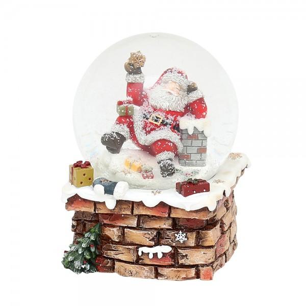 Polyresin Schneekugel Santa auf Schornstein 10,5 x 10,3 x 14,5 cm Ø 10 cm Spielwerk We wish you a merry Christmas