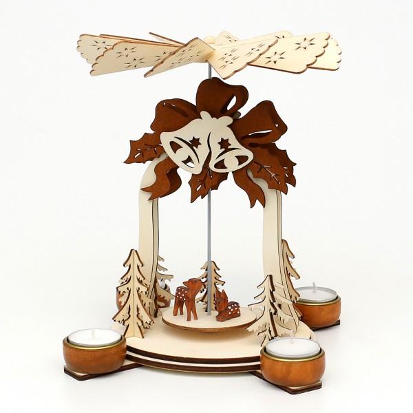 Holz Teelichtpyramide Glocke natur/braun, mit geschnitzten Rehen (Laserholz) für 4 Teelichte 19 x 19 x 25 cm