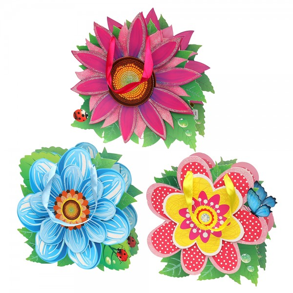 Papier Tragetasche Flowers mit Glitter 3-fach sort. 25 x 8 x 26 cm 3D im Set