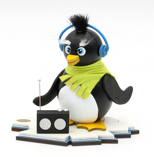 Holz Räucher-Pinguin Ric mit Radio 15 x 12 x 13 cm