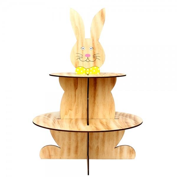 Holz Display Hase 2 Etagen zum Zusammenstecken (Laserholz ohne Deko) 43,5 x 43,5 x 60 cm