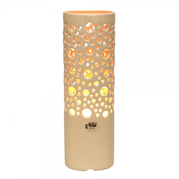 Keramik Zylinderlampe Stella (Leuchtmittel nicht enthalten), Champagner 11 x 8,5 x 34 cm 230 V Kabel, E14