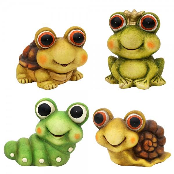 Keramik Dekofigur Schildkröte, Frosch, Schnecke, Raupe 4-fach sort. 12,5 x 11,5 x 10,5 cm im Set