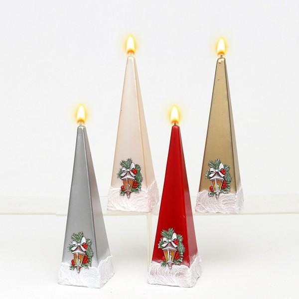 Pyramidenkerze Laterne klein, metallic creme/rot/silber/gold 4-fach sort. 6 x 6 x 19 cm im Set