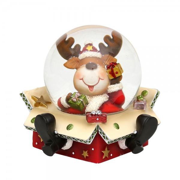 Polyresin Schneekugel Rentier sitzt im Paket 9 x 8,5 x 9 cm Ø 6,5 cm