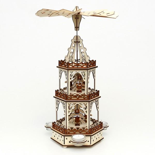 Holz Teelichtpyramide Bergleute 3 Etagen (Laserholz) für 3 Teelichte 19 x 16,5 x 42 cm