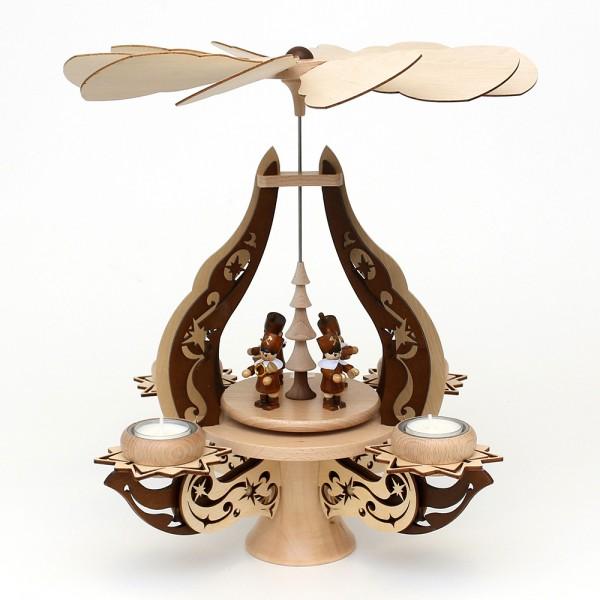 Holz Leuchterpyramide Bergleute natur/braun, edel verziert, für 4 Teelichte 28 x 28 x 39 cm