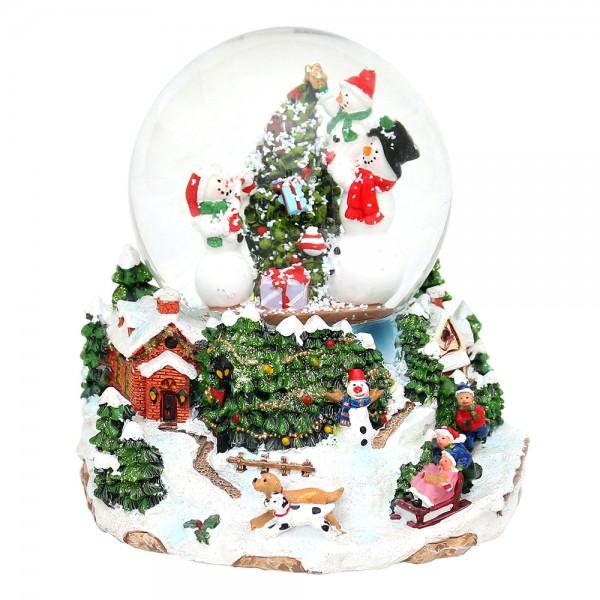 Polyresin Schneekugel Schneemänner am Weihnachtsbaum 15 x 14 x 14 cm Ø 10 cm Batteriebetrieb AA, LED, Farbwechsel, Glitterwirbel, Sound