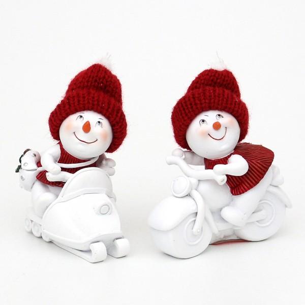 Polyresin Schneemann auf Motorrad/Snowmobil mit Strickmütze, weiß/rot 2-fach sort. 7,5 x 4,5 x 8 cm im Set