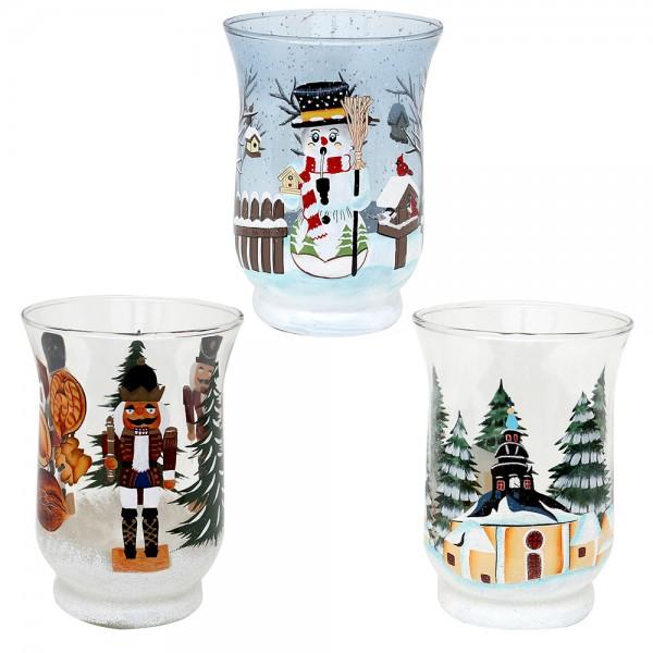 Glas Teelichtbecher Nussknacker, Seiffen, Räucher-Schneemann 3-fach sort. 11 x 11 x 15 cm im Set