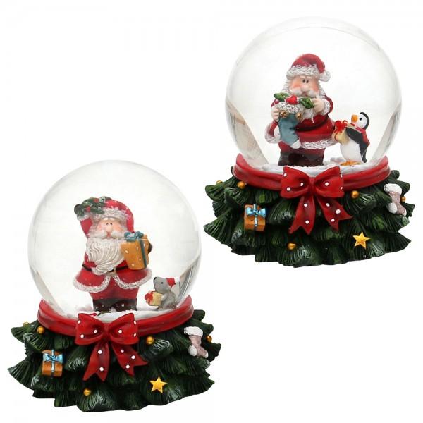 Polyresin Schneekugel Weihnachtsmann auf Tannenbaum-Sockel 2-fach sort. 8 x 8 x 8,5 cm Ø 6,5 cm im Set