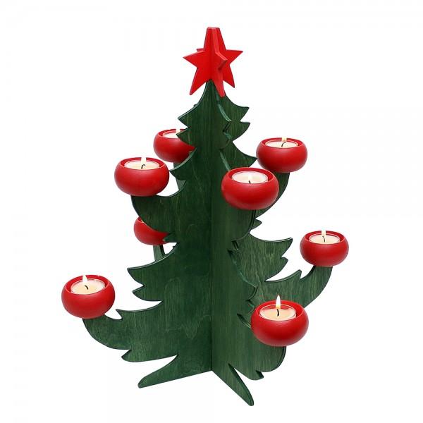 Holz Adventsleuchter Baum klein mit 8 roten Tüllen, grün 38 x 38 x 42,5 cm