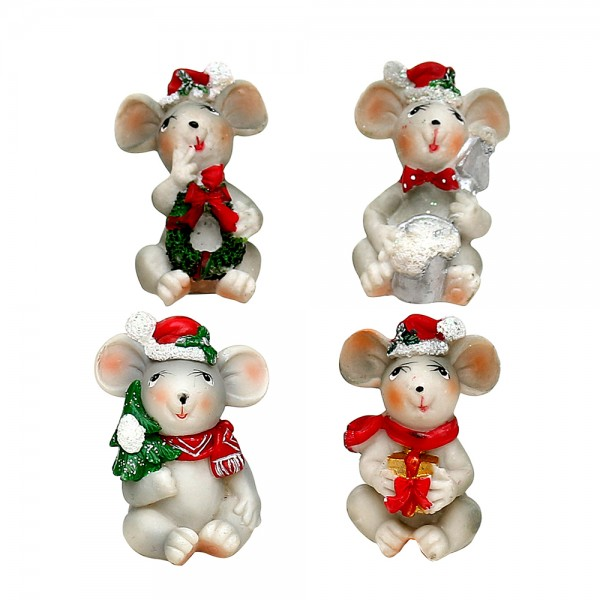 Polyresin Weihnachtsmaus 4-fach sort. 3,5 x 3,5 x 6 cm im Set