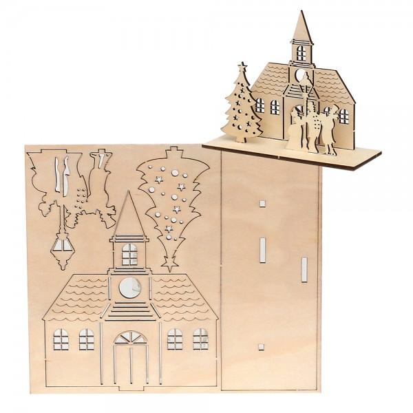 Holz Bausatz Laser-Kirche (14,5 x 5,5 x12 cm) zum Selbstbauen 17 x 0,3 x 14,8 cm