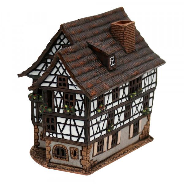 Keramik Licht-Duftölhaus (in Schornstein) Fachwerkhaus 10 x 15 x 13,5 cm