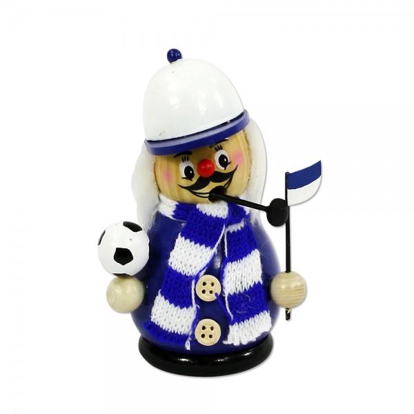 Holz Fußball-Räuchermännchen klein kugelig mit Strickschal & Fahne, blau/weiß 7 x 6 x 12 cm