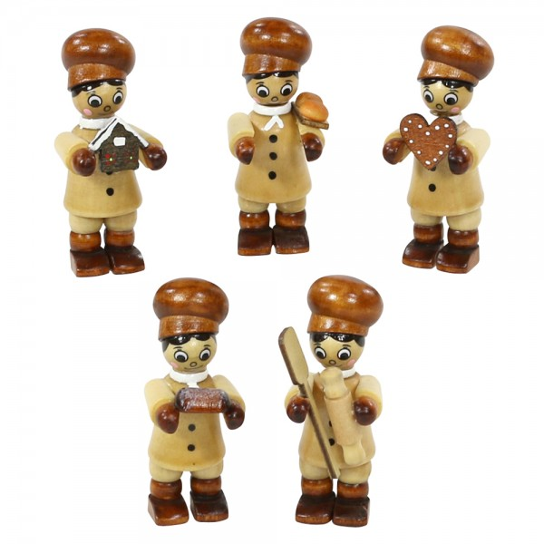 5er Set Holz Winterfiguren Bäckerkinder 5-fach sort. 2 x 2 x 6 cm im Set