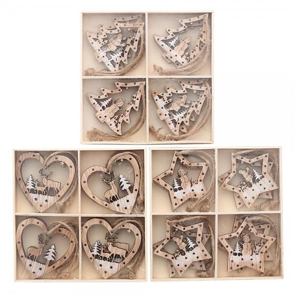 8er Set Holz Baumbehang Herz, Baum, Stern weiß/natur 3-fach sort. 6 x 6 cm im Set