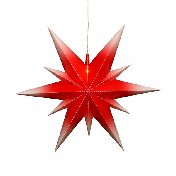 Kunststoff Falkensteiner Adventsstern Fensterstern 11 Spitzen zum Aufklappen, rot/weiß 60 x 19 x 60 cm inkl. Adapter 4,5 V, LED, wetterfest/für außen geeignet