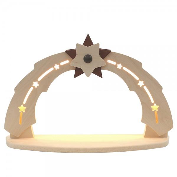 Holz Schwibbogen leer zum selbst bestücken (Bogen innen beleuchtet) 50 x 11,5 x 33 cm 230 V Kabel, LED