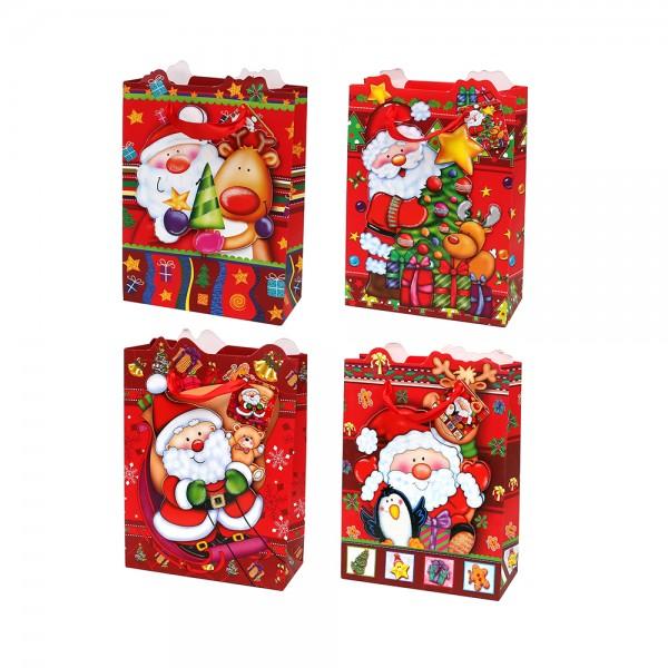 Papier Tragetasche Weihnachtsmann Motive 4-fach sort. 18 x 8 x 24 cm 3D im Set