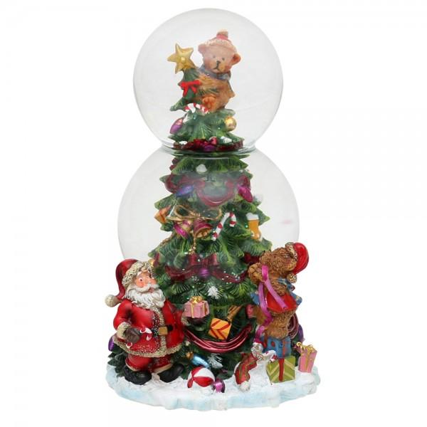 Polyresin Doppel-Schneekugel Tannenbaum 11,5 x 12 x 20,5 cm Ø 10 cm Spielwerk Oh Tannenbaum