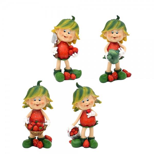 Polyresin Erdbeerkind Charlie stehend 4-fach sort. 8 x 7 x 12,5 cm im Set