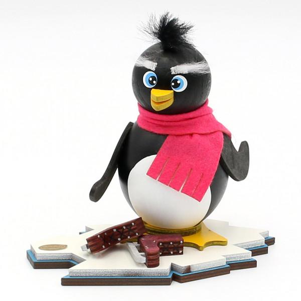 Holz Räucher-Pinguin Elli die Schlittschuhfahrerin 15 x 12 x 13 cm