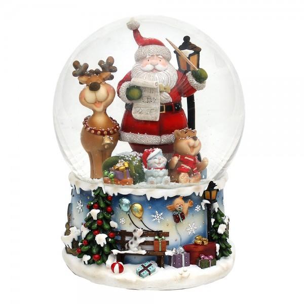 Polyresin Schneekugel Santa mit lustigem Elch 15 x 15 x 20 cm Ø 15 cm Spielwerk Rudolph, XXL