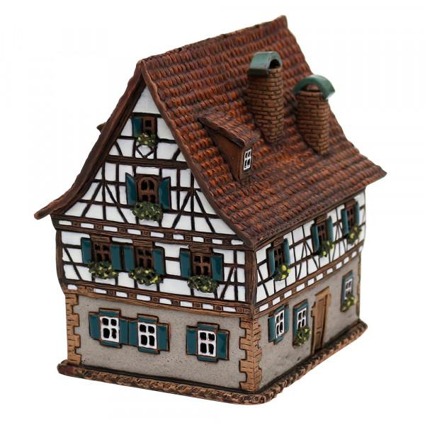 Keramik Licht-Duftölhaus (in Schornstein) F. Schiller Geburtshaus 10,5 x 14 x 14,5 cm
