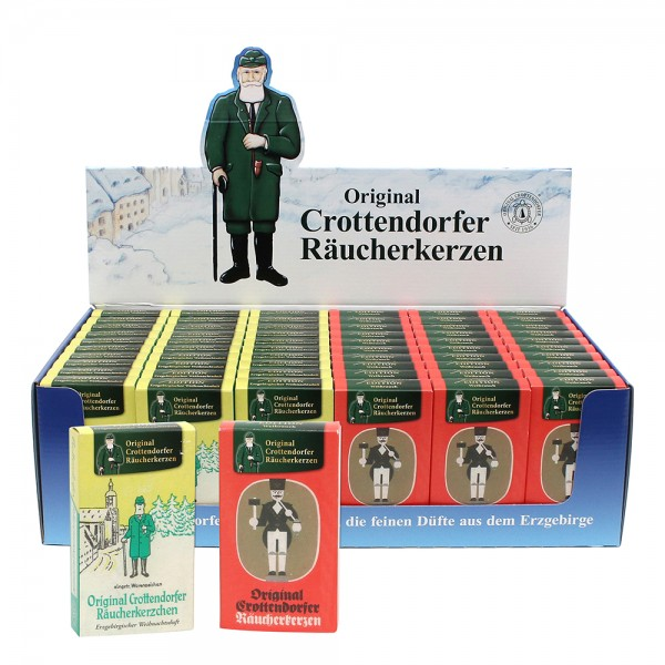 60er Set Crottendorfer-Räucherkerzen Nostalgiepackungen Weihrauch+Erzgeb. Weihnachtsduft 60 im Display (30x1801+30x1802) 2-fach sort. 38 x 22,5 x 11 cm im Set