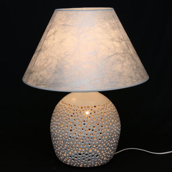 Keramik Tischlampe Moon (Leuchtmittel nicht enthalten), Weiß 45 x 45 x 56 cm 230 V Kabel, E14, E27
