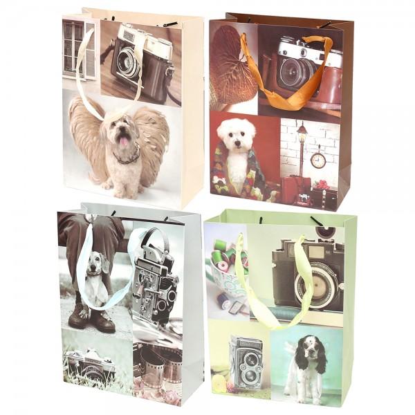 Papier Tragetasche Fotomotive 4-fach sort. 18 x 8 x 36 cm im Set