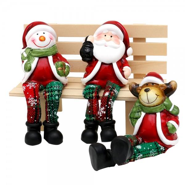 Keramik Kantensitzer Weihnachtsmann / Schneemann / Rentier mit Stoffbeinen 3-fach sort. 7 x 5,5 x 16,5 cm im Set