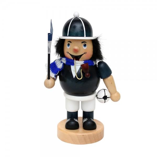 Holz Räuchermann Fußballer, blau/weiß 8 x 6,5 x 16 cm
