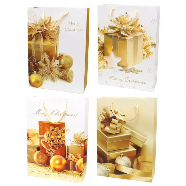 Papier Tragetasche Geschenk Motive gold mit Glitter 4-fach sort. 30 x 12 x 40 cm XL im Set