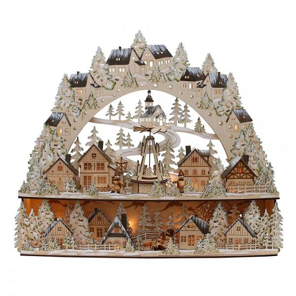 Holz Schwibbogen mit Bank verschneit XL mit bewegter Weihnachtspyramide & Winterfiguren (Laserholz) 63 x 13,5 x 52 cm Batteriebetrieb AA, inkl. Adapter 4,5 V, LED, Bewegung, XL