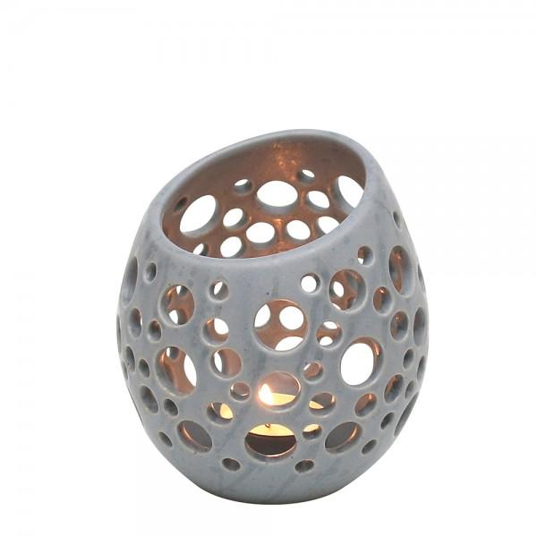 Keramik Windlicht-Ei mit Löchern, Grau 11,5 x 11,5 x 12,5 cm Ø 11,5 cm